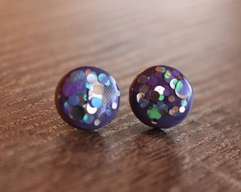 Plum confetti pop earrings, 12mm studs, polymer clay and resin, handmade, hypoallergenic, sparkle, gift idea, prom