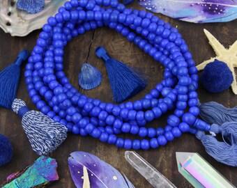 Royal Blue Bone Mala Beads, 108 beads, Exclusive Color, Boho Yoga Jewelry Making Supply, Large Hole Rondelle Beads for Bracelets, Yoga Mala