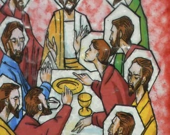 Vintage picture of the sacrament enameled. 70s Last Supper of Christ with the twelve apostles.