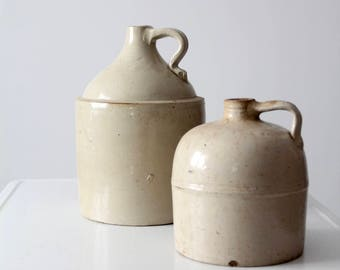 antique American stoneware jug set of 2