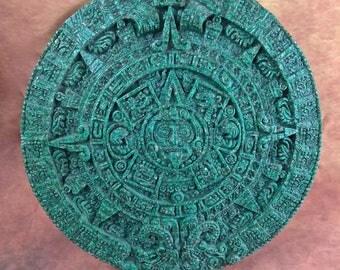 Quimio Art 1950's Aztec Calendar//Greenstone Resin Mexican Art//Mayan Sun Stone//Artesania Mexicana//