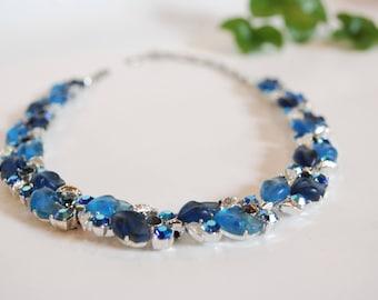 Vintage LISNER Rhinestone Necklace - Blue - Aqua - Iridescent - Navy - Leaves - Choker - 50's - 60's