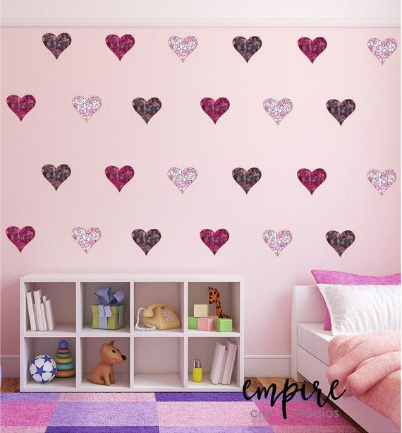 Mini Mosaic Tile Hearts Wall Decal-Stained Tiles Mini Heart Vinyl Decals-Pink Mini Heart decals-Mulitple Pinks decals-Girls Wall Decor