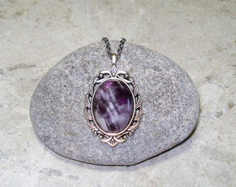 Amethyst Necklace Cameo Jewelry Pendant Antique Silver