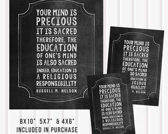 DIGITAL Education Quote Print for LDS Youth / Kids by Russell M Nelson 8x10, 5x7, and 4x6