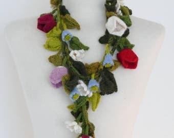 Handknitted Flower Scarf