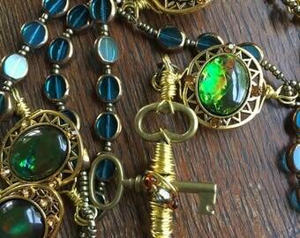 Catholic Rosary, Blue Glass, Madonna Retablo Image, St. Joseph Retablo Image Centerpiece