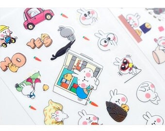 Lovely Rabbit's Holiday Sticker Sheets Set, cute stickers, stickers pack, transparent stickers, korean stickers, animal stickers, cartoon
