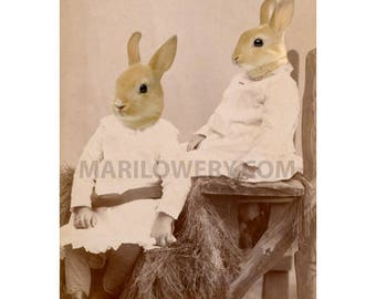 5x7 Inch Print, Easter Rabbit Art, Victorian Animals in Dress, Mixed Media Collage, Sister Gift, Small Wall Decor, Anthropomorphic Art