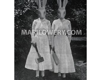 Halloween Decor, Creepy Rabbit Twin Sisters Collage Print, Black and White Wall Decor, 8.5 x 11 Inch Halloween Art Print