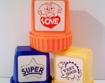 Rubber Stamps, Set of 3