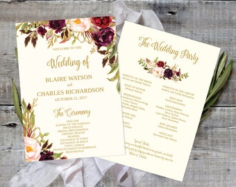 Wedding Program Template Printable / Editable - Fall Floral Watercolor Wedding - Gold / Cream / Burgundy / Marsala / Wine / Blush Rustic