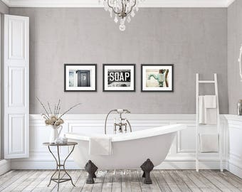 Rustic Bathroom Wall Decor Art Set Of 3 Prints Or Canvas