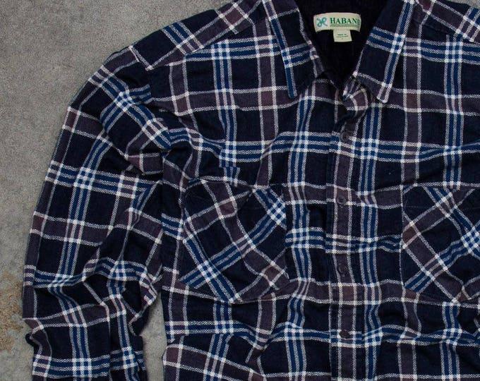 Dark Vintage Printed Flannel Soft Work Shirt Grunge Neutral Size XL | Mens Womens Unisex | 7V