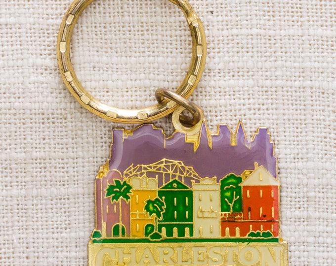 Charleston South Carolina Vintage Keychain Rainbow Row Pastel Gold Key FOB Brass Key Chain 7KC
