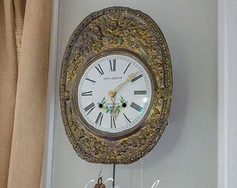Antique French Morbier Comtoise Clock, Two Weight, Wag on Wall, Chime Clock, Eight Day