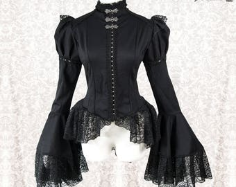 Blouse goth Victorian, Steampunk, black, Somnia Romantica, size small - medium see item details for measurements