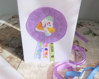 Age Four Birthday Card, rosette card, stitched felt with numeral 4 and ribbons, make a birthday extra special, with a handmade card
