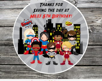 Superhero Stickers, Superhero Favor Tags, Set of 12 Personalized Favor Tags, Stickers, Thank You Tag, superhero baby shower, boy girl