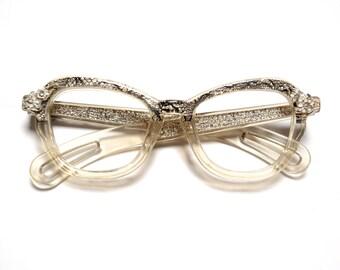 vintage 60s eyeglasses clear plastic frames 1960 eyewear snakeskin rhinestone metal flower 1960s glasses chunky plastic frames