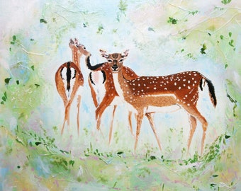 deer painting, deer art, ethereal painting, abstract art, wildlife art, deer lovers, animal art, deer portrait