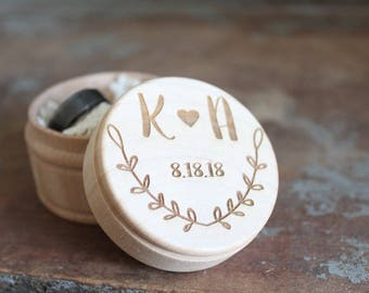 Engraved Rustic Wedding Ring Box Vine Engraved Ring Box Ring Box With Initials and Date