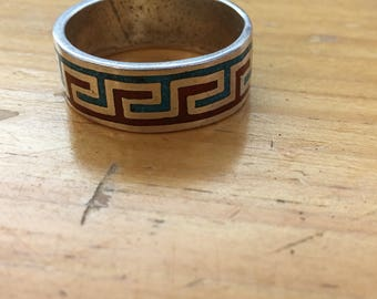 Beautiful crushed coral and turquoise .925 sterling silver zuni pueblo navajo inlay ring - large to x-large 11 to 11.5