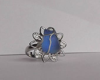 Blue sea glass ring -  sea glass ring - beach glass.