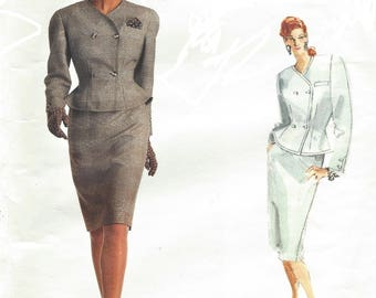 1980s Bill Blass Womens Peplum Jacket and Pencil Skirt Double-Breasted Vogue Sewing Pattern 2015 Size 6 8 10 Bust 30 1/2 to 32 1/2 FF