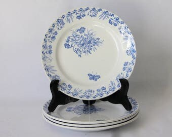 Antique French Transferware Blue  Dessert Plate Sarreguemines 1800s, SET of 4