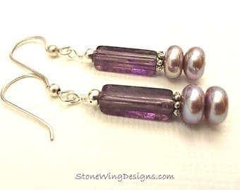 Amethyst Earrings, Amethyst Jewelry, February Birthstone, Birthstone Earrings, Gemstone Earrings, Purple Gemstone, Gemstone and Pearls