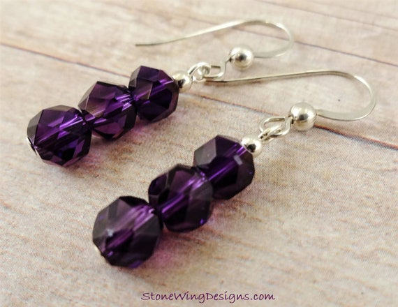 Amethyst Earrings, February Birthstone