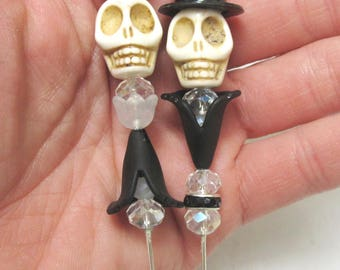 Sugar Skull Cake Topper Day of the Dead Caketopper Bride Groom Wedding Black White Red