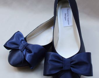 Navy Wedding Flat Size 7.5 SALE Ready to ship  - Blue Flats- Bow Flat