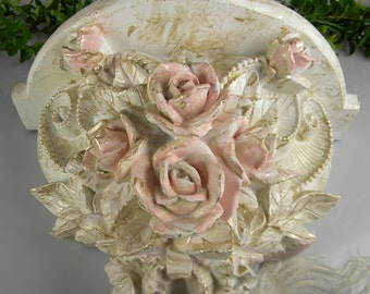SALE Wall Shelf - Pink Rose Wall Art Shelf | Feminine Gift Idea |  Cream Champagne and Pink Hand painted | Upcycled One of A Kind Wall Art