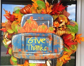 Give Thanks Truck with Pumpkins Wreath