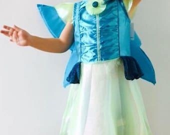 Girls fairy costume, fairy dress, fairy costume with wings, Halloween fairy costume, carnival fairy costume, Winx costume, Aisha winx club