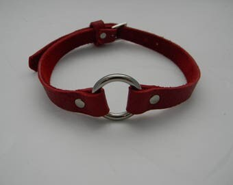 The Dainty Lipstick Red Leather BDSM Collar/ Red Leather Choker/ Submissive Collar