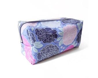 Large Travel Bag, Bright Fun Romantic Peony Print, Original Fabric Design, Floral Cosmetic Pouch, Bumblebee Print Zipper Bag, Ditzy Floral