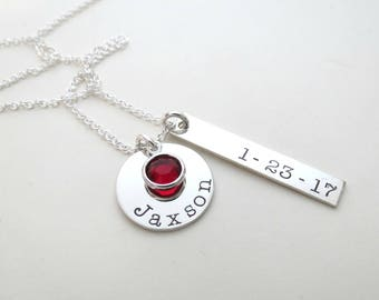 Personalized Necklace with Birthstones - Mothers Necklace - Personalized Jewelry - Name Necklace - Childs Name - Engraved Bar