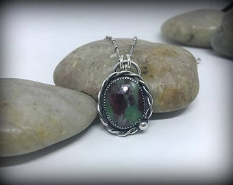 Faceted Ruby Zoisite Sterling Silver Necklace