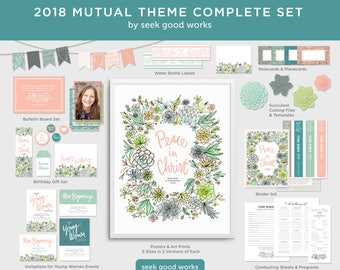 LDS Young Women Theme 2018- Mutual Theme - Peace in Christ - Complete Set with Bonus Art - Young Women Printables