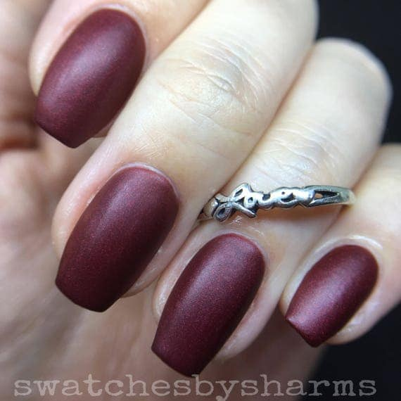 Vampires of Virgo Nail Polish matte red shimmer vegan