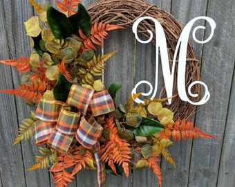 Fall Door Wreath, Wreath for Door, Front Door Fall Wreath, Fall Wreath with Monogram For Door Wedding Halloween Thanksgiving, Horns Handmade