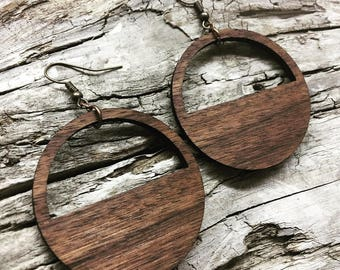 "READY TO SHIP - 1.75"" Walnut Half Moon Lightweight Wood Hoop Earrings - Wooden Loop Earrings"