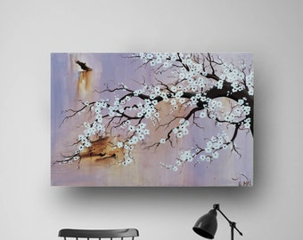 Blossom Painting, Abstract Flowers, Lavender, Purple, Original Painting on Canvas, Contemporary Art, Acrylic Painting, 36x24 by Heather Day