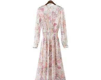 Women Bohemian Vintage Floral Beige Dress, Elastic Waist Dress, two pieces, long sleeve, spring dress, Boho Dress, flower printed dress