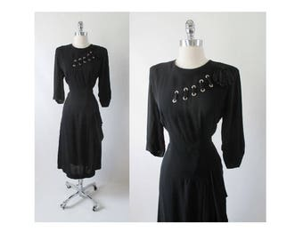 Vintage 40's Black Rayon Satin Laced Dress L