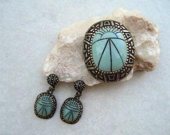 Vintage Hobe Egyptian Brooch Earring Set Turquoise Scarab