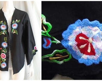Vintage 1990s Embroidered Jacket Boho Cotton Floral Top Medium